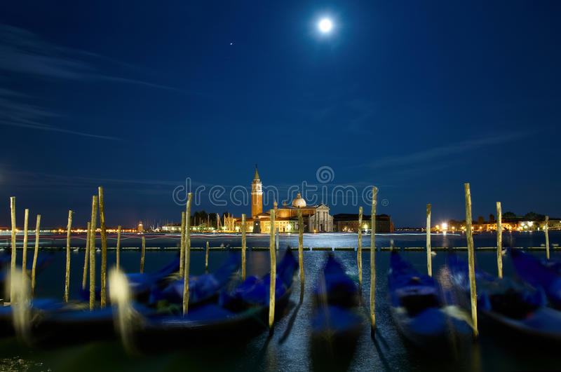 Full moon over Grand Canal. Night shot of Full Moon Over Grand Canal royalty free stock images