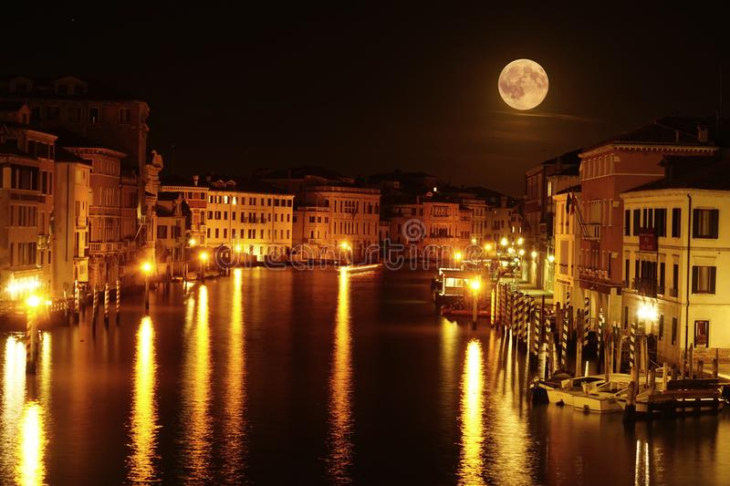 Full Moon Over The Grand Canal royalty free stock photo