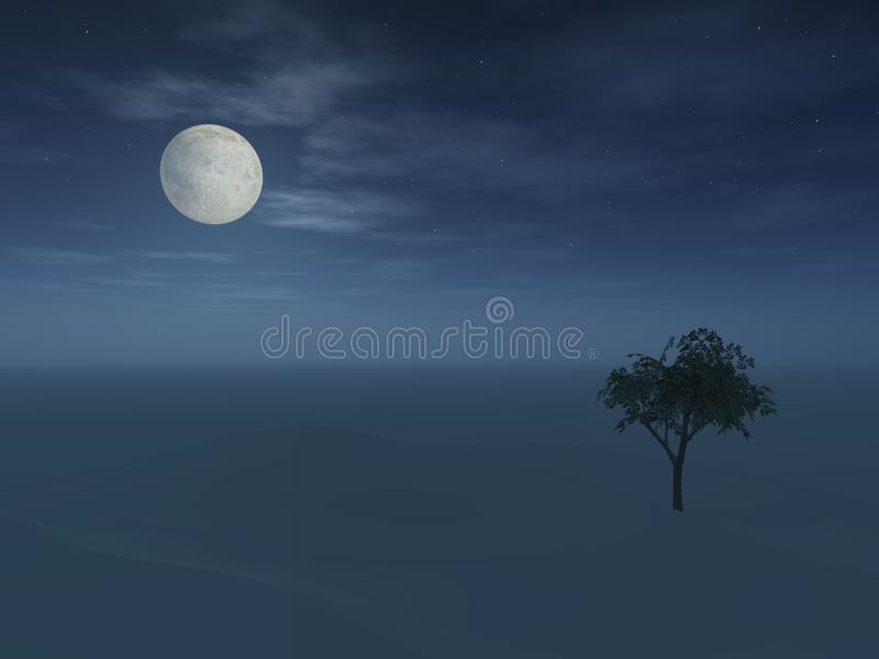 Full Moon Over Hill stock image