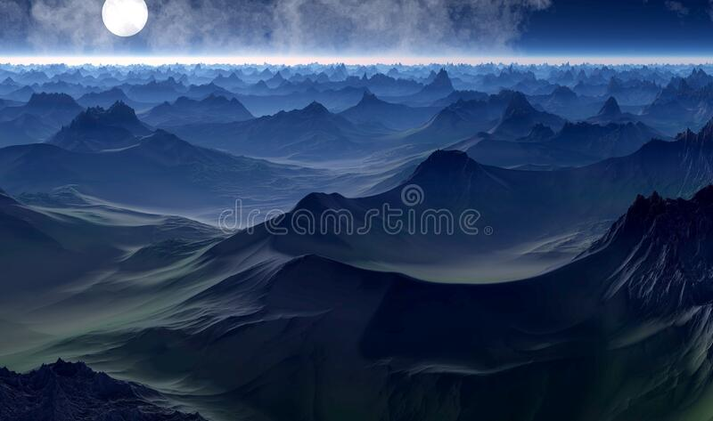 Full moon over hilly landscape royalty free stock images