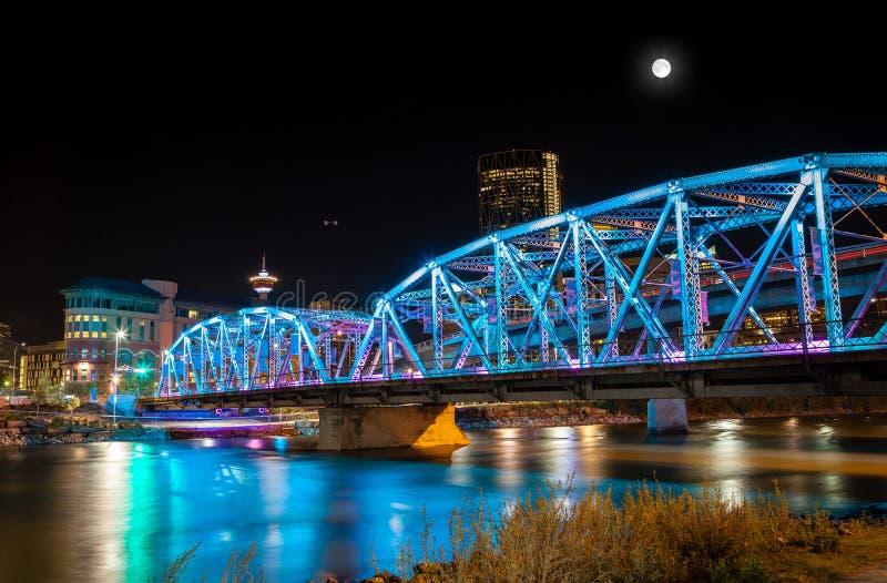 Full Moon Over Langevin Bridge in Downtown Calgary stock images