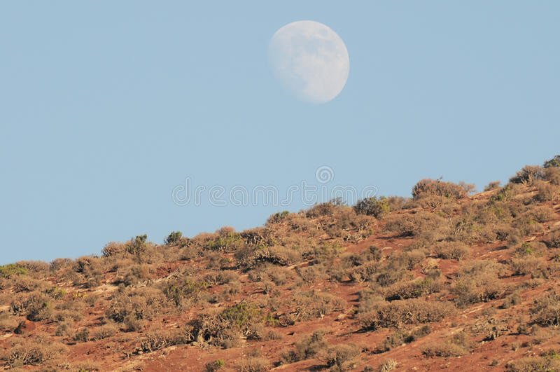 Almost Full Moon over the Mountain. In Tenerife, Canary Islands, Spain royalty free stock images