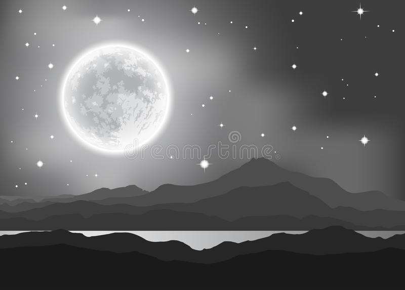 Full Moon over mountains and lake. Night landscape. Vector illustration vector illustration