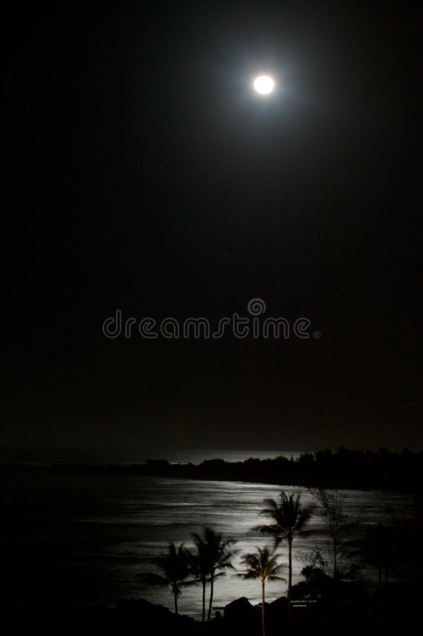 Full Moon Over Ocean Beach At Night royalty free stock image