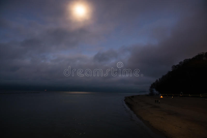 Full moon over the sea stock photo