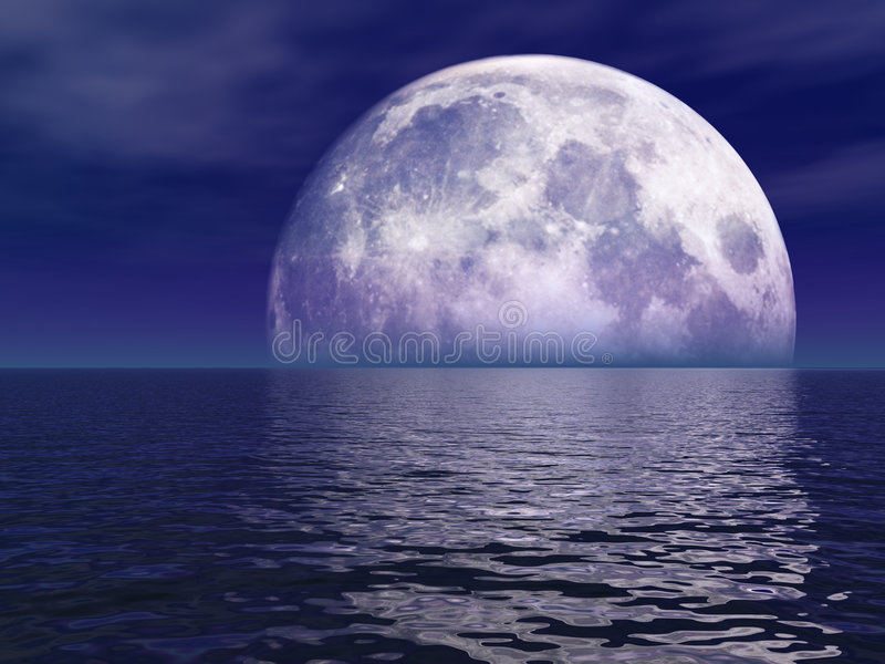 Full Moon Over Water. Full Violet Moon Over Water