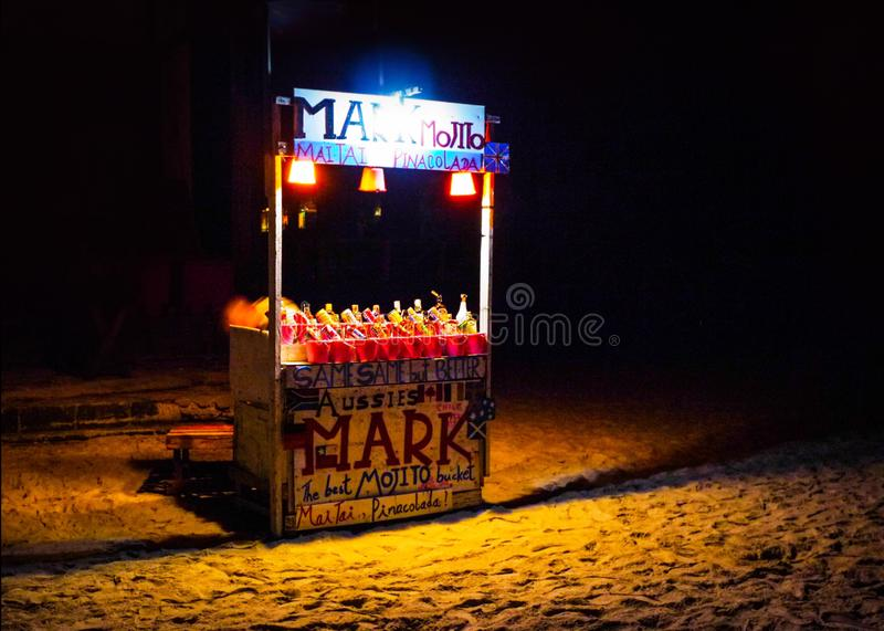 Full Moon Party Koh Phangan, Thailand 27 Mar 2012, Liquor stall stock photography