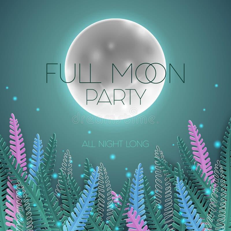 Full moon party poster stock illustration