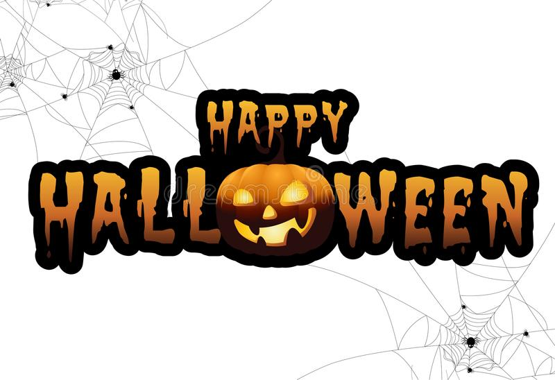 Download Full Moon With Pumpkins And Ghost,Sign Party Happy Halloween Night  Background Stock Vector