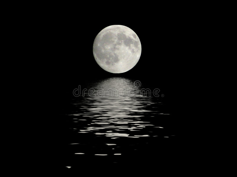 Full moon reflected in water royalty free stock photo