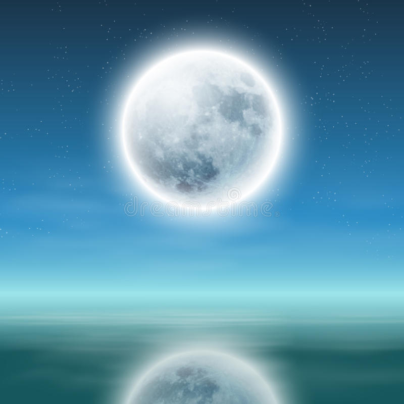 Full moon with reflection on water at night. vector illustration
