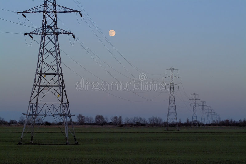 Download Full moon rising stock image. Image of full, energy, cables - 18139
