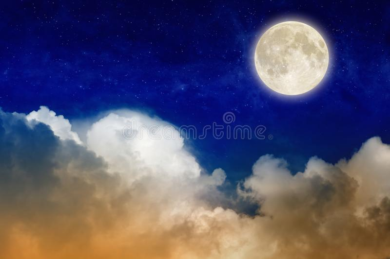 Full moon rising above glowing clouds in night sky vector illustration