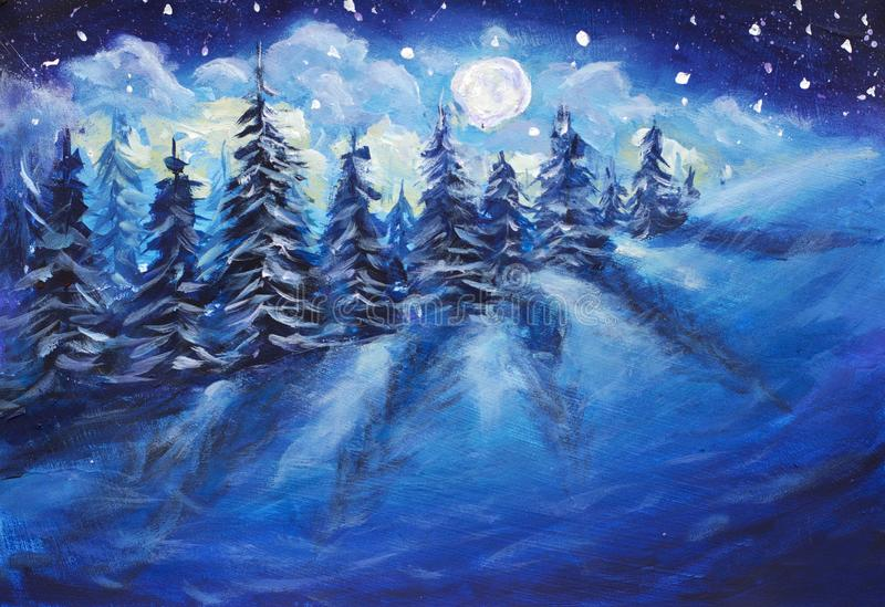 Full moon rising above the winter forest covered with fresh snow. Fantastic bright milky way original oil painting. Impressionism. royalty free illustration