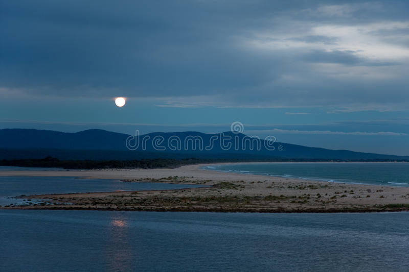 Download Full Moon Rising Over Lake & Sea Landscape At Dusk Stock Image - Image: 12708011
