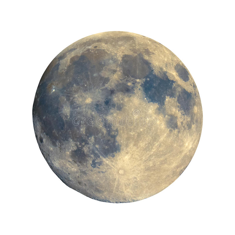 Full moon seen with telescope, enhanced colours, isolated royalty free stock images