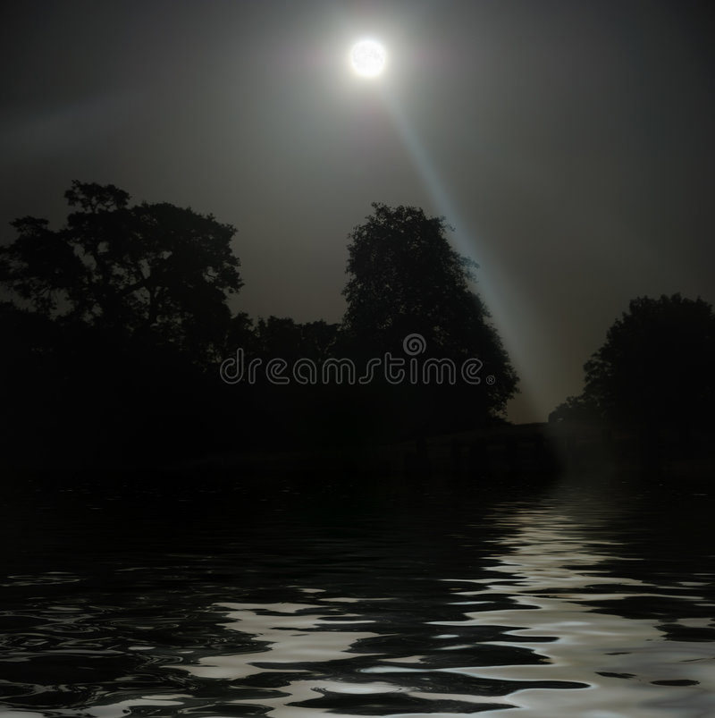 Download Full Moon Shining Above Water Stock Photo - Image: 9358820