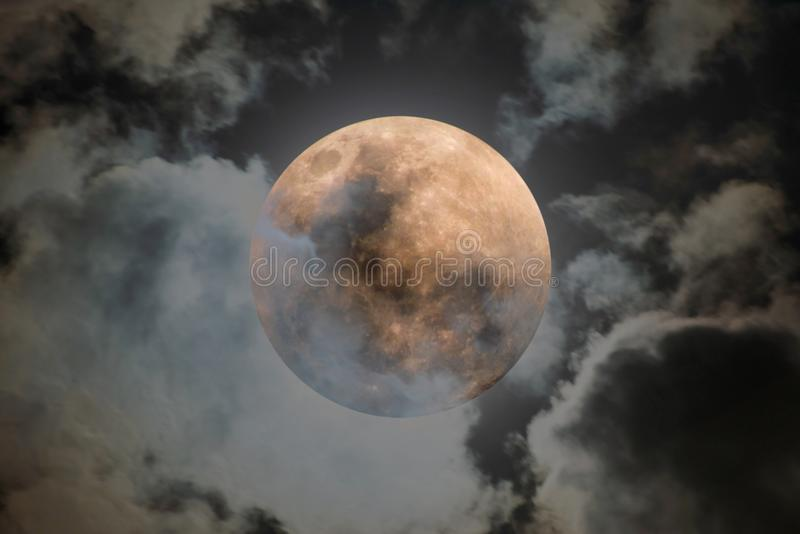 Full moon shining on the sky in cloudy day royalty free stock photos