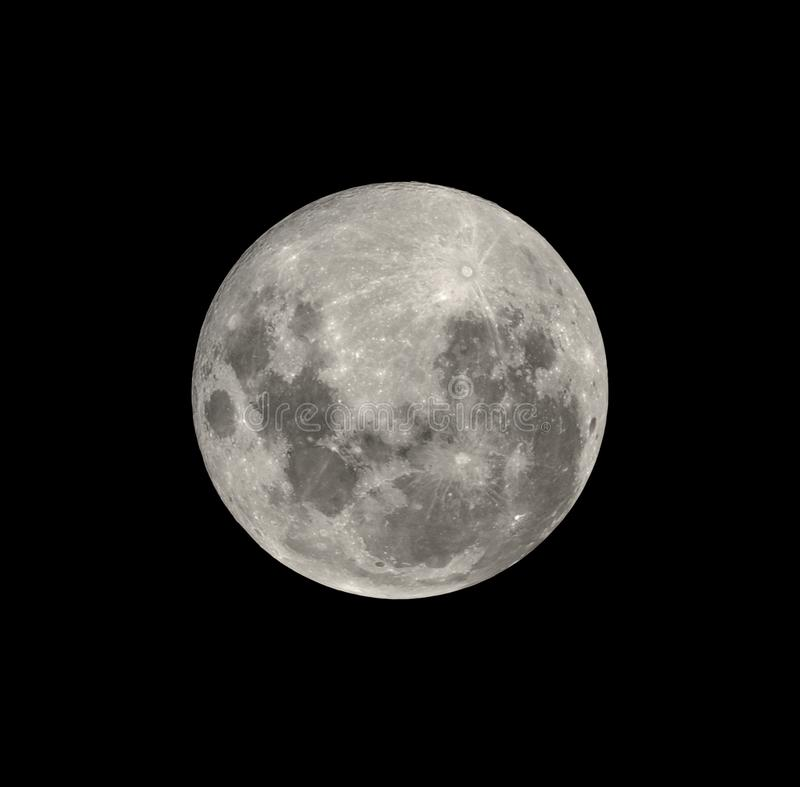 Full moon from southern hemisphere isolated on black. Full moon closeup from southern hemisphere - Isolated on black royalty free stock photos