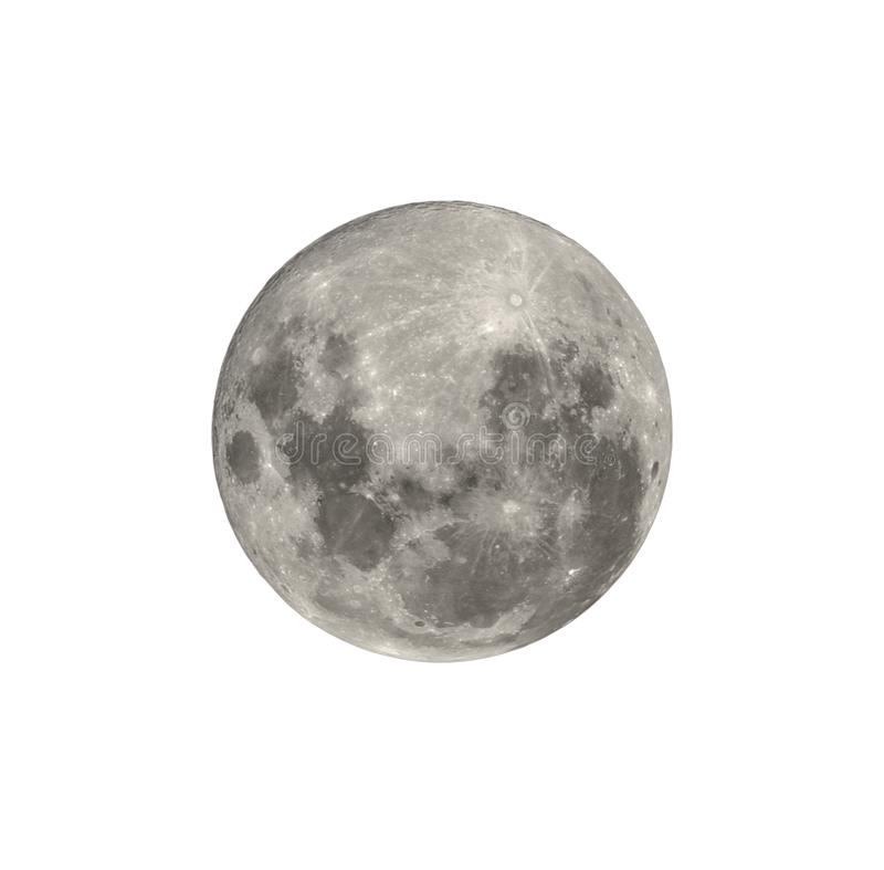Full moon from southern hemisphere isolated on white. Full moon closeup from southern hemisphere - Isolated on white royalty free stock images