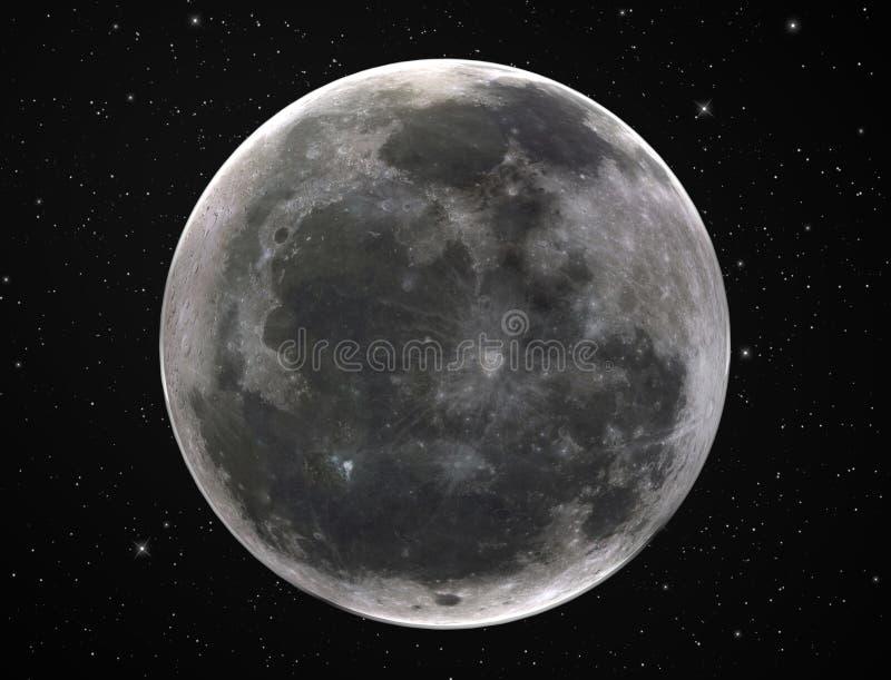Full moon in starry night sky vector illustration