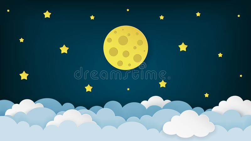 Full moon, stars, and clouds on the dark midnight sky background. Night sky scenery background. Paper art style. Clean and minimal design. Vector Illustration royalty free illustration
