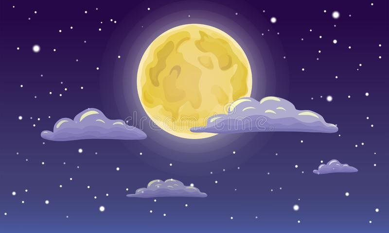 Full moon, stars, and clouds on the dark midnight sky. Night sky scenery background. Cartoon full moon on dark starry night sky. Full moon, stars, and clouds on vector illustration