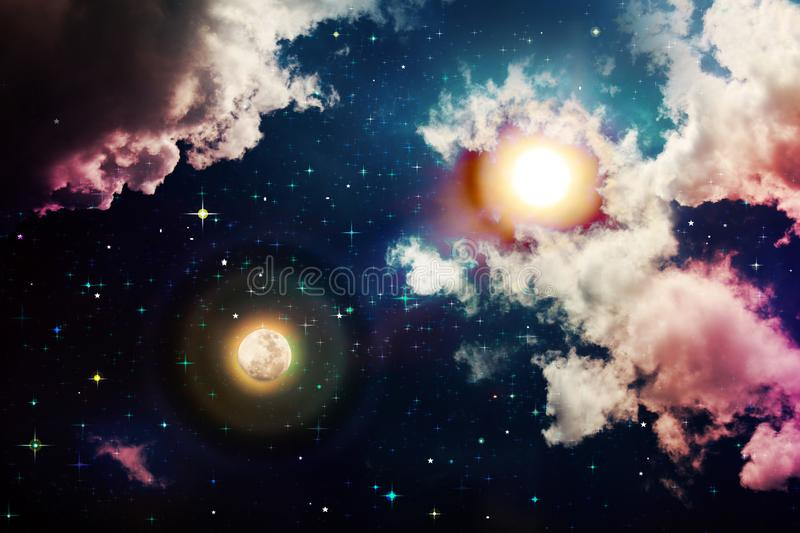 Full moon with sun at dark night sky . Stars in the night sky and moon. Abstract space background. Full moon and sun royalty free stock photo