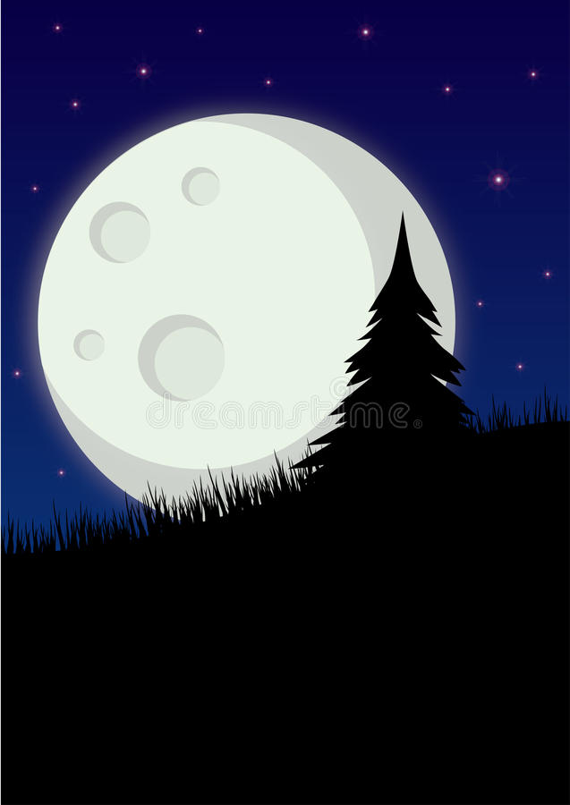 Download Full Moon With Tree Silhouette Stock Illustration - Illustration: 28317276