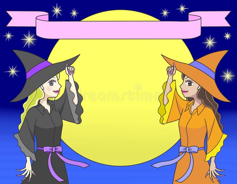 Two Witches Magic Broomstick Illustration Stock Vector (Royalty Free)  638796457