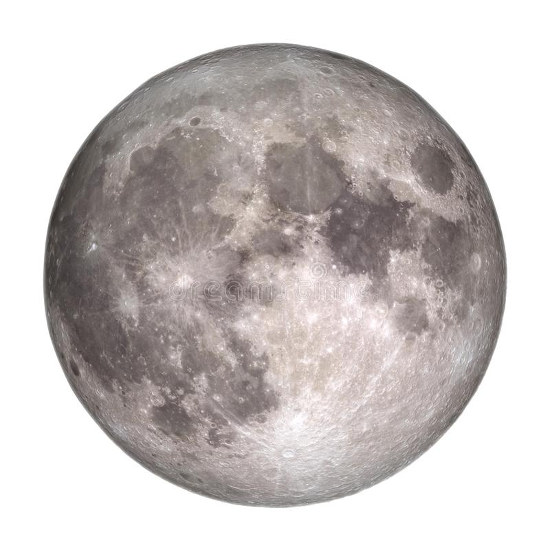 Full Moon view from space isolated on white background. royalty free stock photography