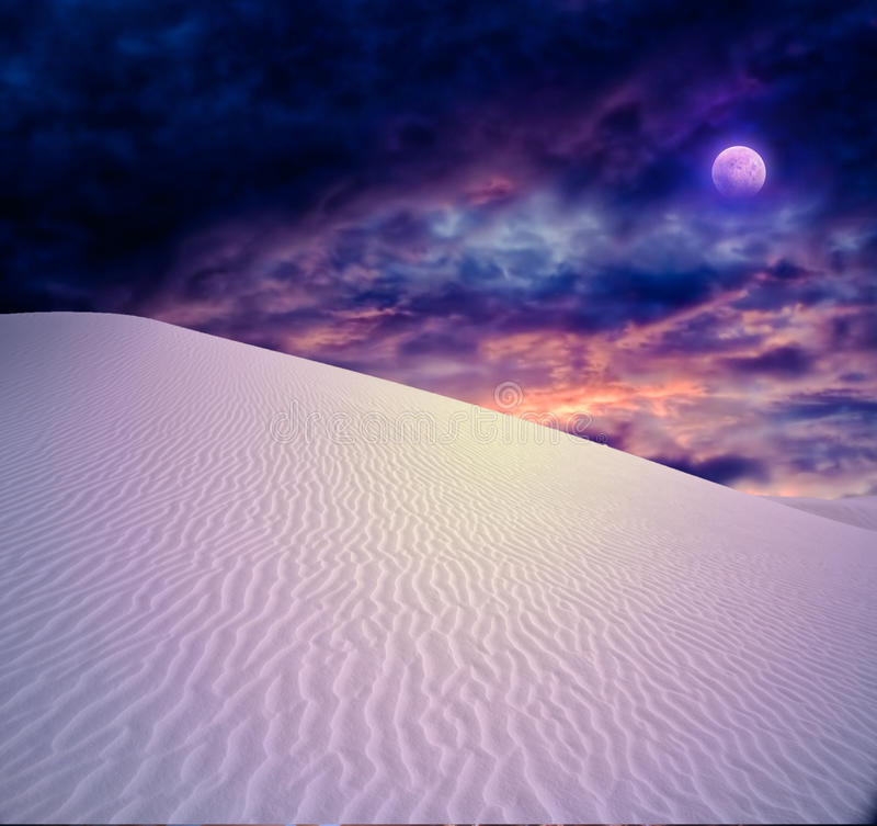 Full moon at White Sands. New Mexico stock photography