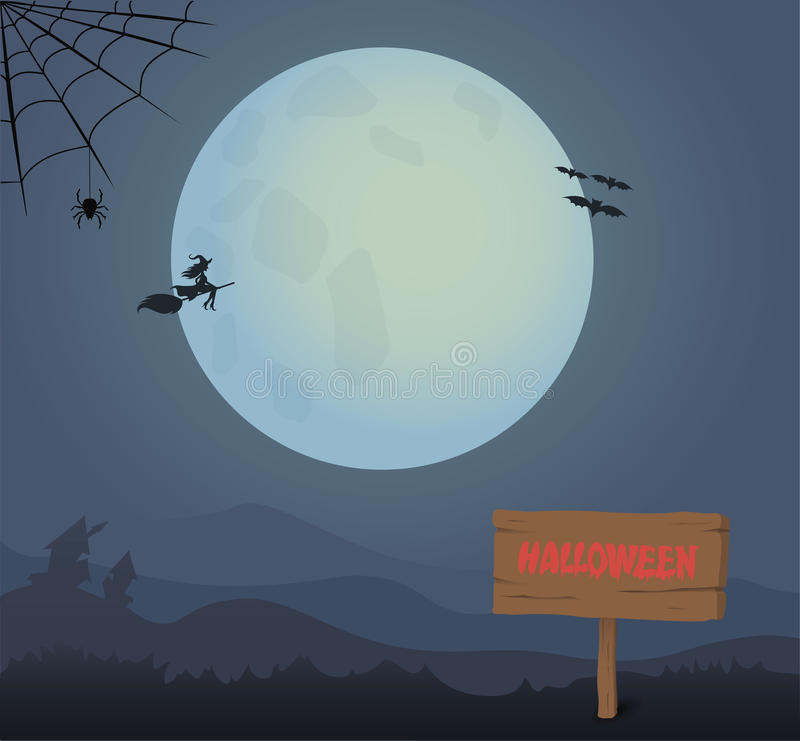 Full moon and wooden board Halloween royalty free illustration