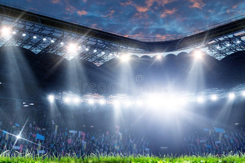 Full nattfotbollarena i ljus royaltyfri foto