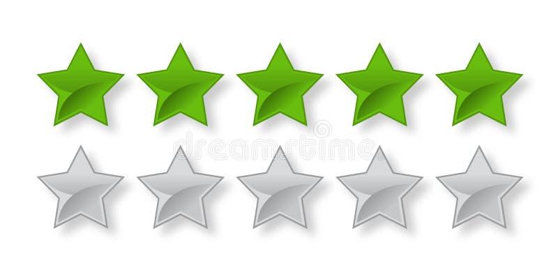 Full och tom grön värderingsstång för 5 stjärna royaltyfri illustrationer