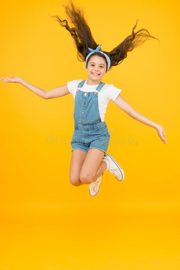 Free Full Of Energy. Active Girl Feel Freedom. Fun And Relax. Feeling Free. Carefree Kid On Summer Holiday. Time For Fun Stock Image - 168176341