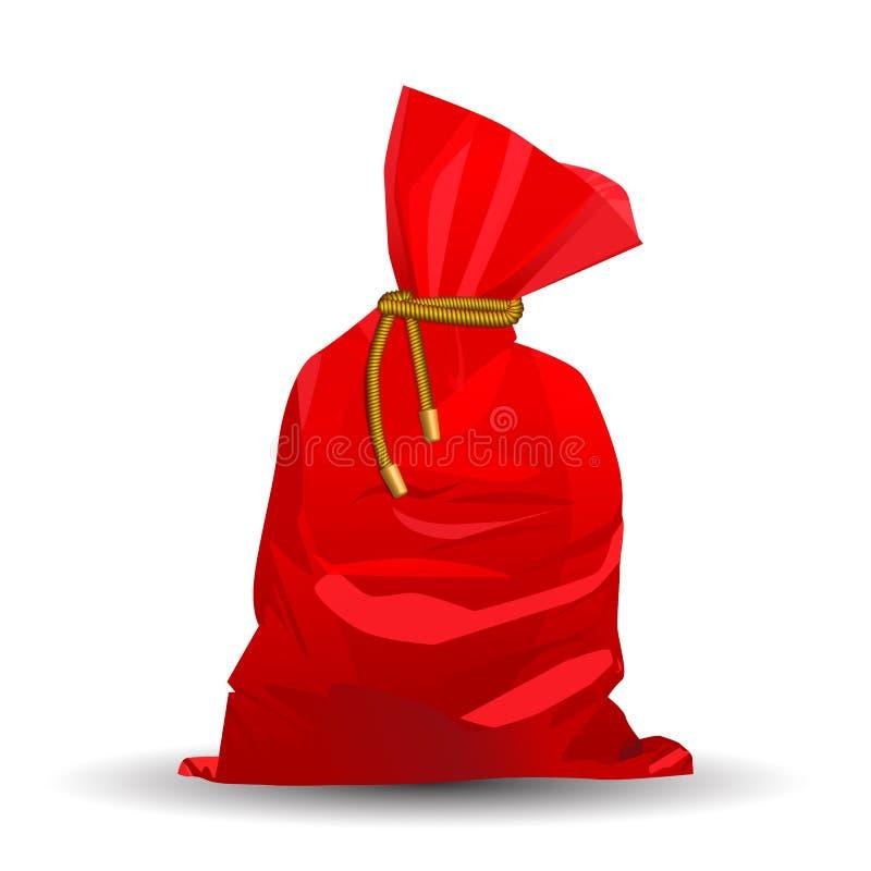 Full påse av gåvor från Santa Claus Dekorativ beståndsdel för jul plan vektorillustrationisolat på en vit bakgrund Lätt till vektor illustrationer