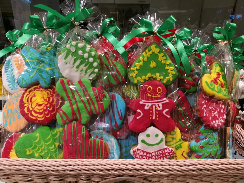 Full pack of variety of X`mas icing cookies gift bag. In the basket stock photos