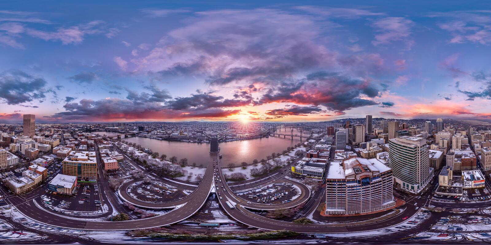 Portland downtown sunrise 360 by 180 photosphere. This is a full 360x180 pano of snowy Portland downtown at dawn stock images