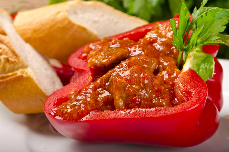 Download Full paprika (with meat) stock photo. Image of dinner - 22258482
