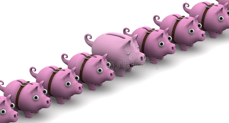 Full piggy bank in a row of empty stock illustration