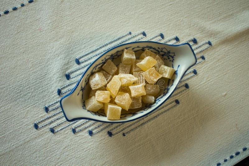 Full portrait of a fine blue and white porcelain bowl, full of  Turkish delights with mastic gum, stock photos