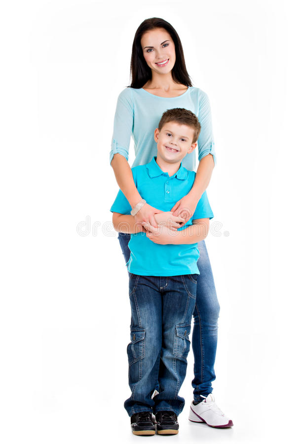 Full portrait of a happy young mother with son stock photos