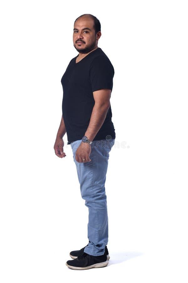 Full portrait of a latin man on white background royalty free stock photo