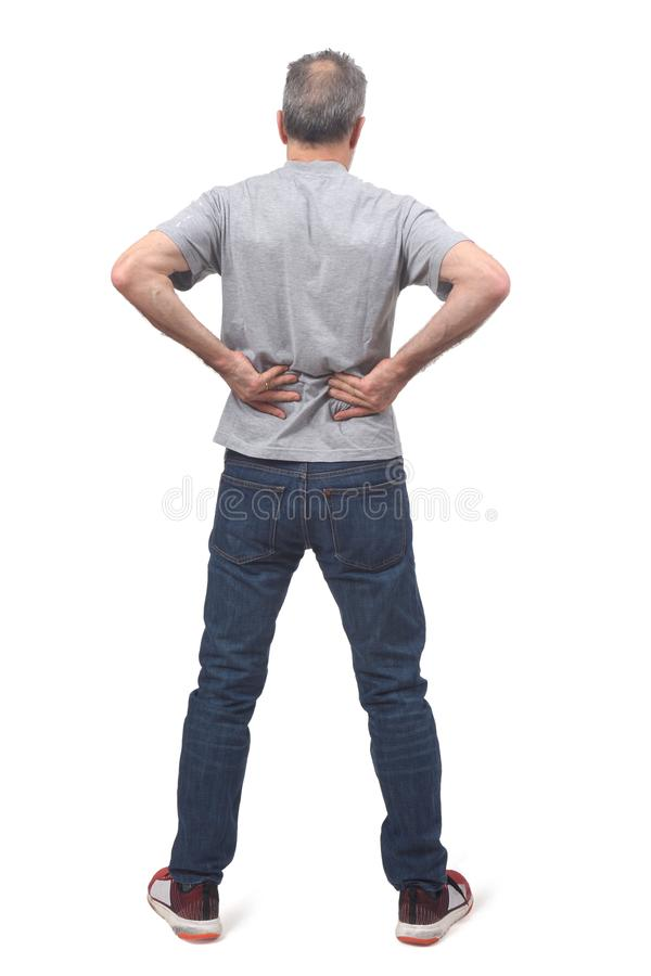 Full portrait of man on back pain royalty free stock photography