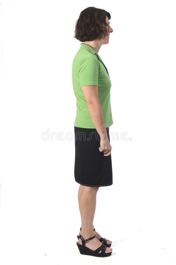 Full portrait of woman on white background royalty free stock photography