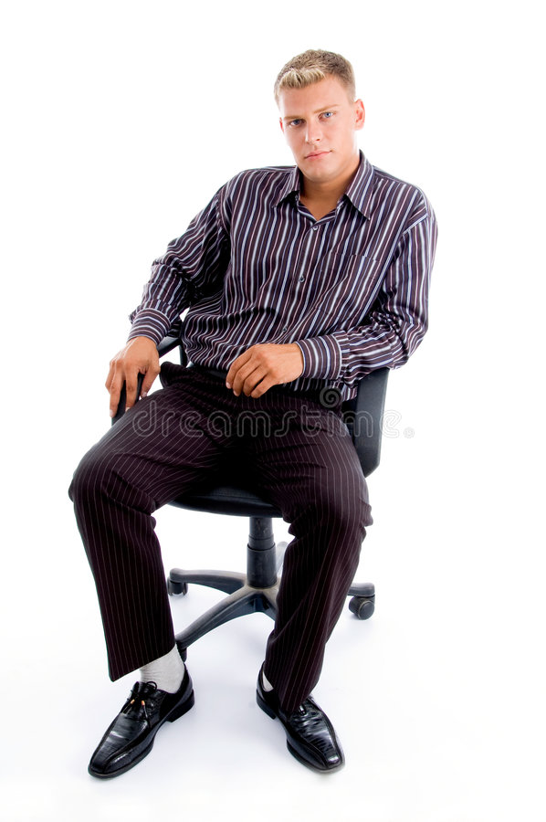 Full pose of stylish successful person. Sitting on the chair against white background stock images