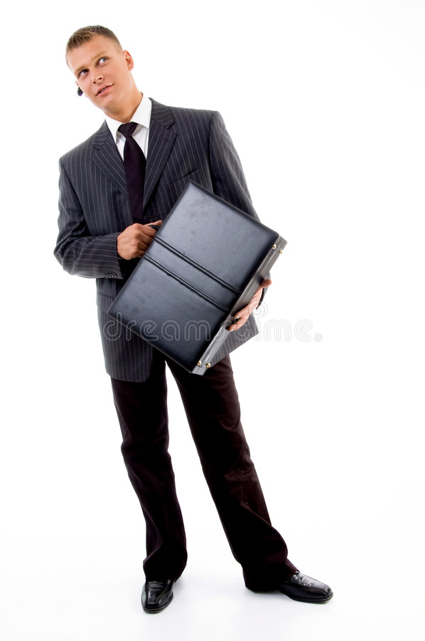 Download Full Pose Of Young Executive Holding Leather Bag Stock Photo - Image: 7524644