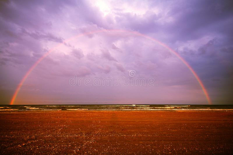 Full rainbow and perfect balanced stock image