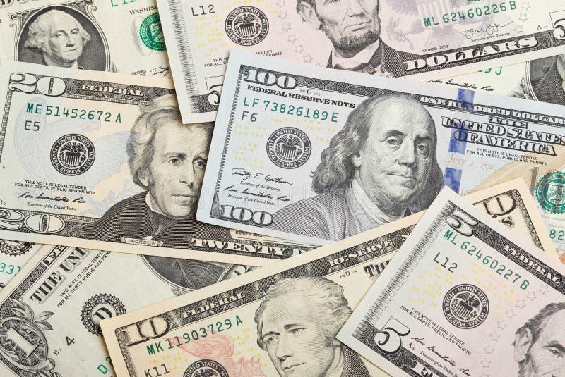 Full rambild med U S Dollar banknontes arkivfoto